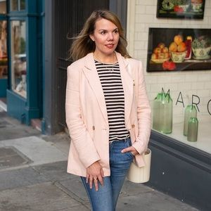 Topshop pink linen double breasted blazer sz 8